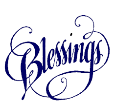 'blessings' in curly writing
