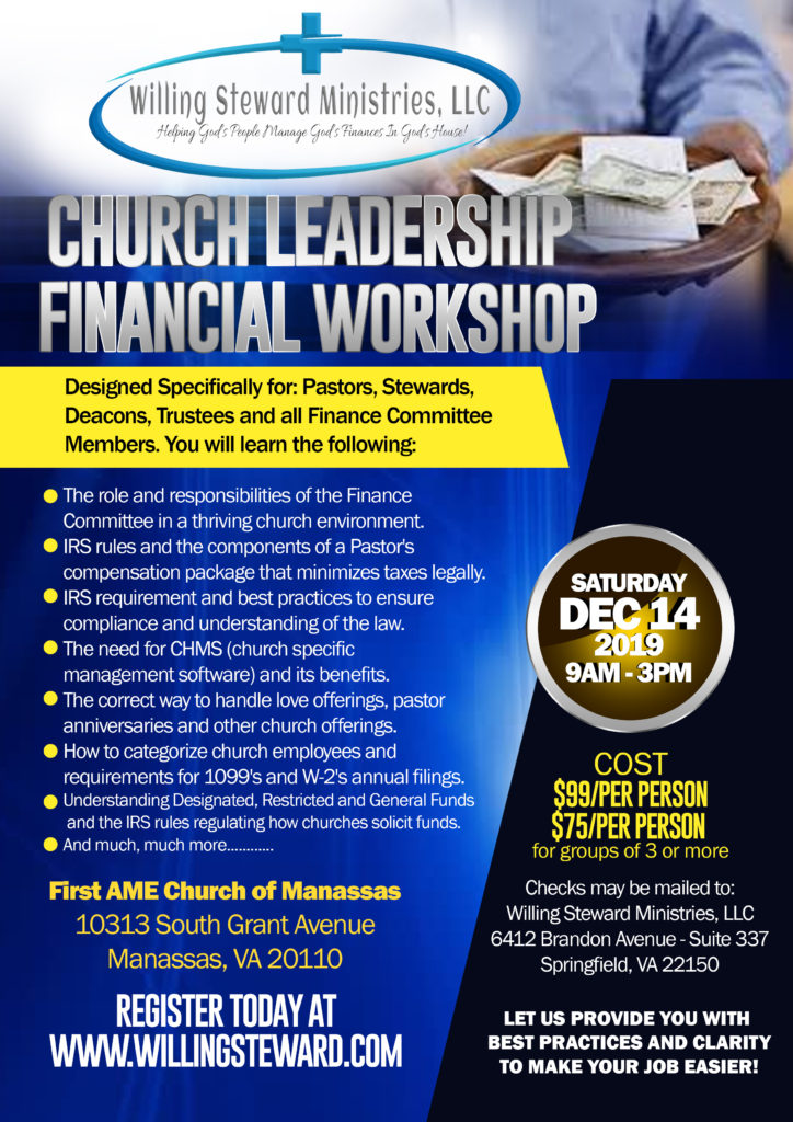 church leadership financial planning workshop flyer